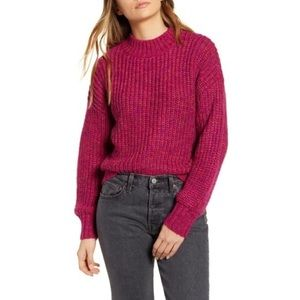 Band of Gypsies Glacee Ribbed Pink Sweater Small